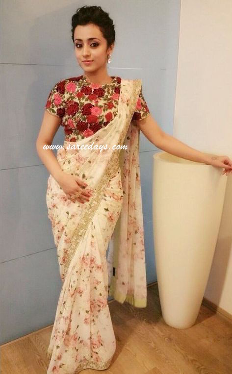 Latest saree designs trisha in floral printed saree checkout trisha in floral printed saree paired with contrast blouse altavistaventures Image collections