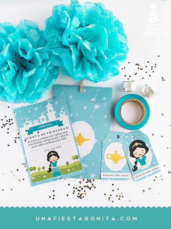 kit de invitación princesa jazmin cumpleaños