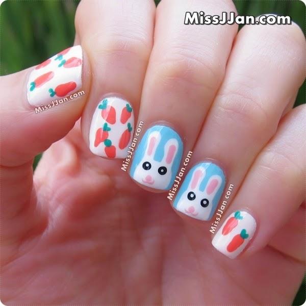 Easter Bunny Nails: MissJJan's Beauty Blog ♥: {Tutorial} Easter Bunny Nail Art