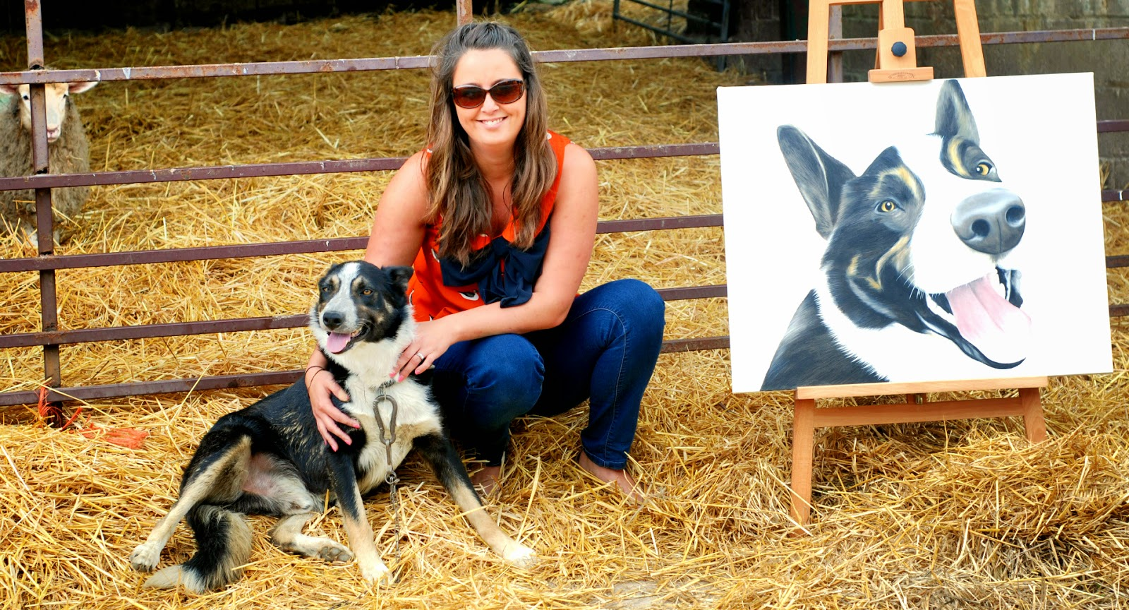 Border Collie Portraits of Jed with owner Hannah