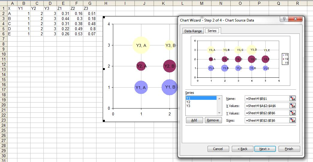 Advanced Graphs Using Excel : Creating bubble chart (tricks