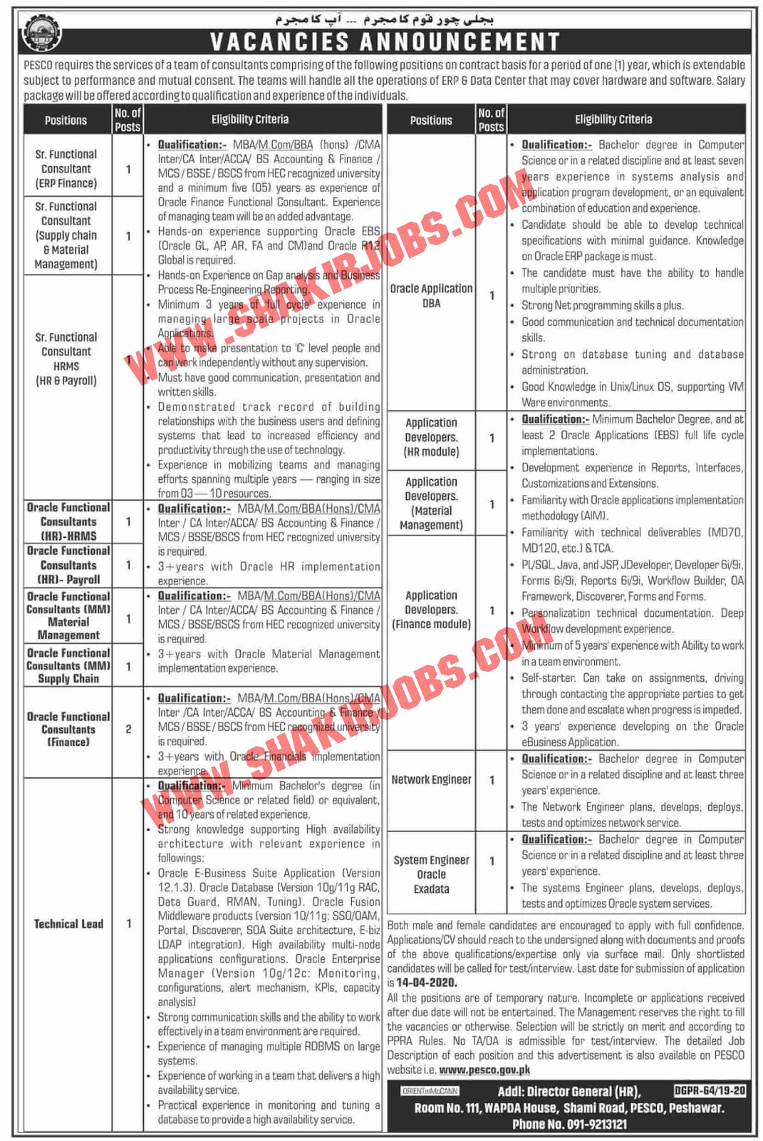 Wapda PESCO Jobs 2020 Latest Advertisement And Application Form