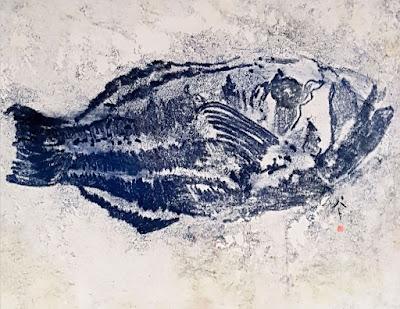 blue fish painting pat calabro