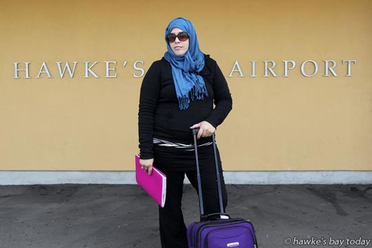 Yasmeen Muhammad, aka Fatima Muhammad, Hastings, pictured at Hawke's Bay Airport, Napier, is annoyed that her Jetstar flight left for Auckland 10 minutes early, leaving her and several other passengers behind. photograph