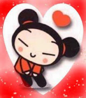 Pucca with Hearts: Free Printable Cards, Invitations or frame.
