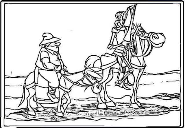 El quijote dibujos para colorear los niños.