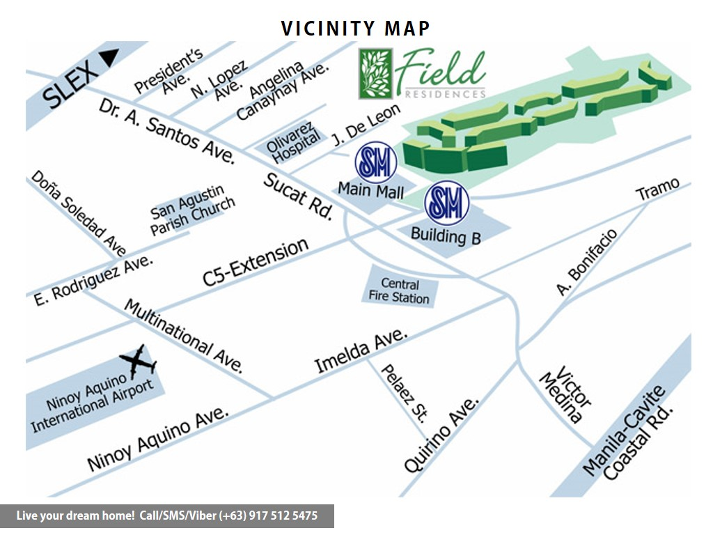 Vicinity Map - SMDC Field Residences - 1 Bedroom Standard With Balcony | Condominium for Sale Sucat Paranaque