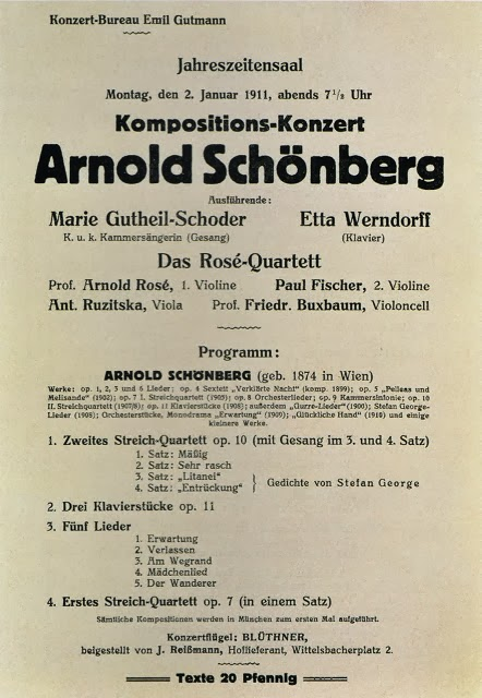 El programa del concierto de Schönberg, el 2 de enero de 1911 en Munich