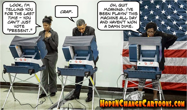 obama, obama jokes, political, cartoon, humor, conservative, hope n' change, hope and change, stilton jarlsberg, early voting, chicago, midterm, election