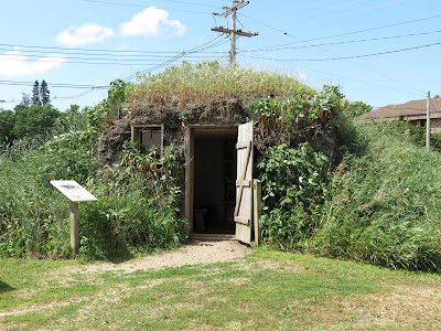 Replica sod house at the Laura Ingalls Wilder Museum, with prairie grasses growing on it.