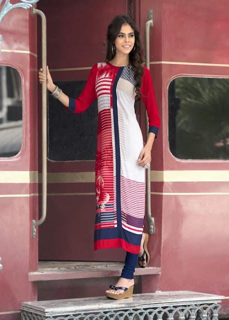 Charming White And Red Rayon Cotton Printed Printed Kurti