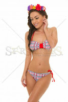 Costum De Baie Homespun Style Red