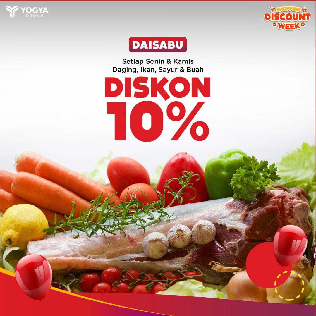Yogya - Promo Diskon 10% (DASAIBU: Daging Ikan Sayur Buah) Tiap Senin & Kamis