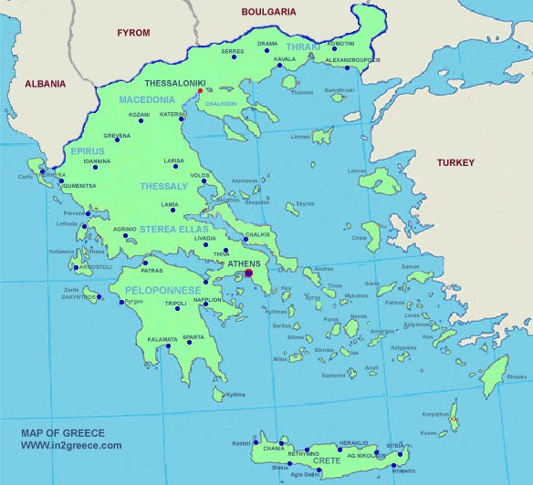 Greece Map Political Area   Map of Greece Regional ...