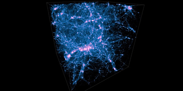Simulations of the cosmic web. The filaments connecting structures are shown. Such structures are predicted by numerical simulations of matter distribution in the universe at different times through the age of the universe. Credit: ucr.edu