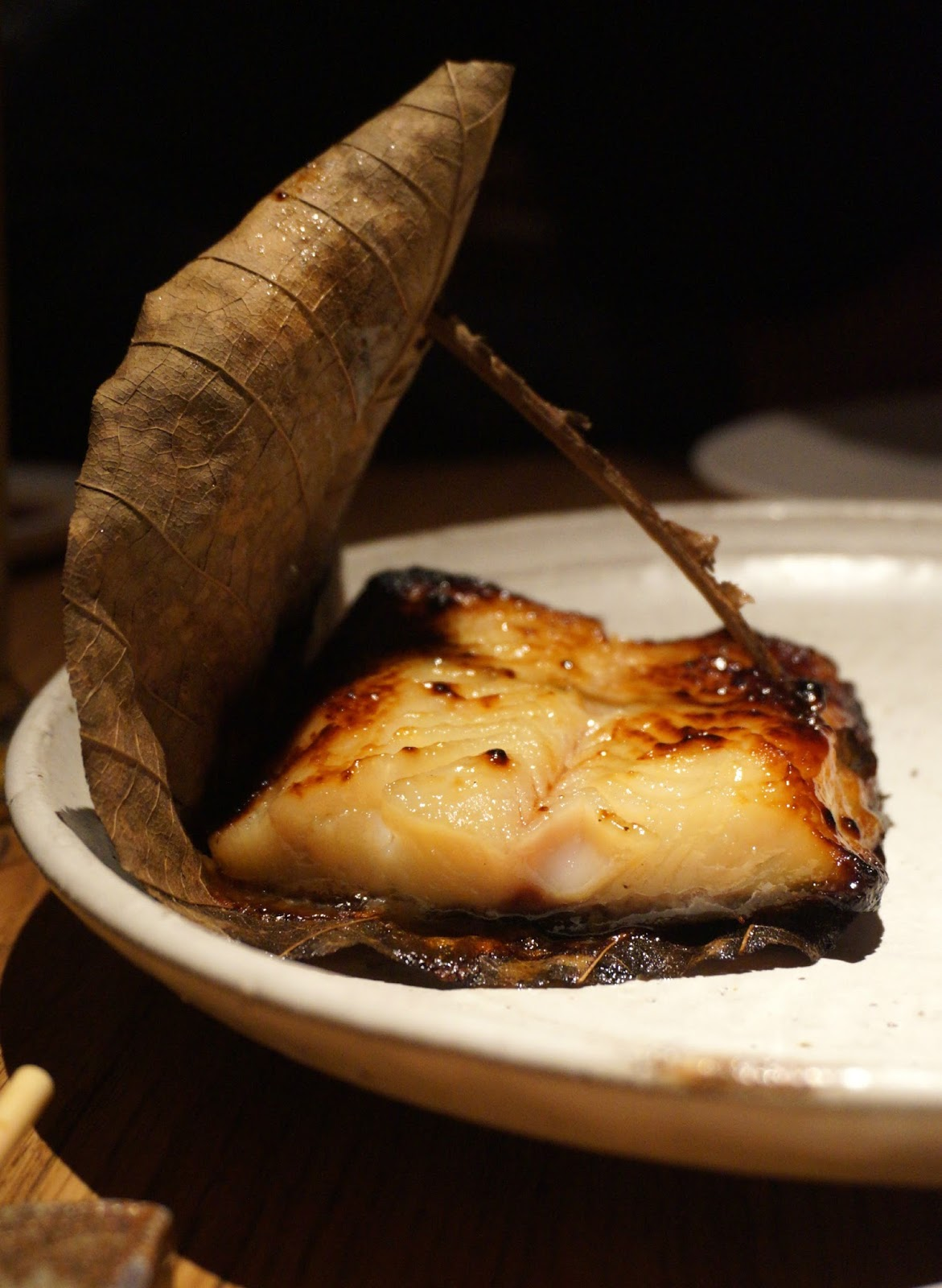 black cod with banana leaf