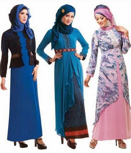 20 Contoh desain baju muslim gamis brokat terbaru 2015