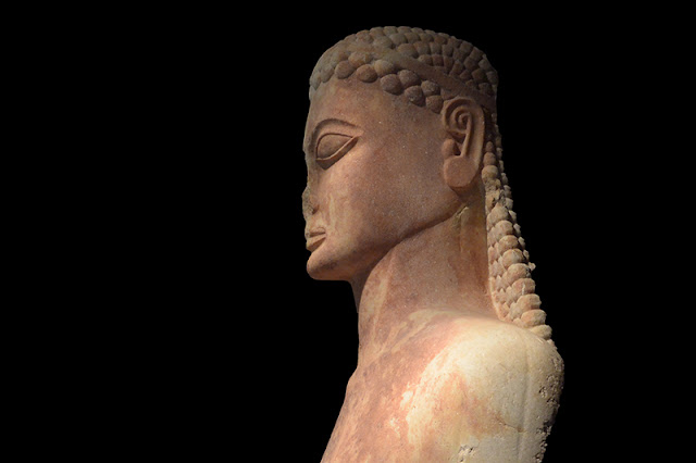 Sacred Gate kouros Marble, ca. 600-590 BC Archaeological Museum, Athens, Greece caption