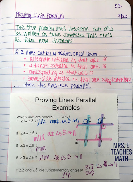 Proving Lines are Parallel interactive notebook page for geometry