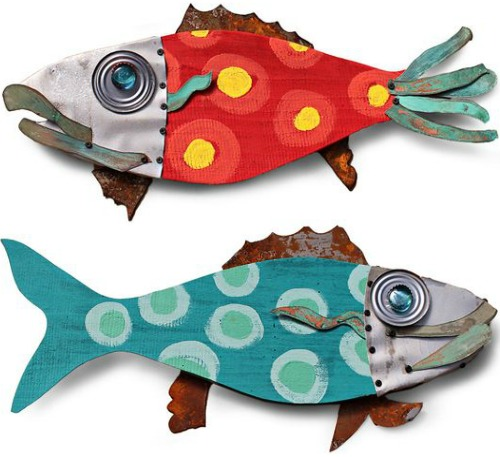 Recycled Outdoor Fish Wall Art