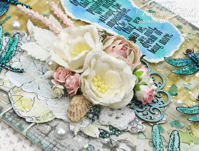 Summery Mixed Media Graduation Card/Home Decor by Tracey Sabella for Scrap & Craft: #studio75 #handmadecard #mixedmedia #mixedmediacard #shabbychic #shabbychiccard #papercrafting #flowercard #chipboard #lindysgang #lindysstampgang #Finnabair #Primamarketing #wildorchidcrafts #helmar #artanthology #usartquestprills #bluefernstudios  #agateria #scrapiniec #timholtz #rangerink