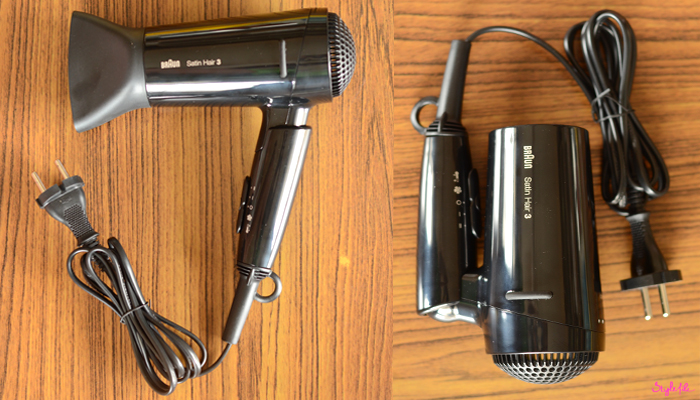 The Braun Satin Hair 3 blow-dryer comes with a detachable nozzle, has a 3 speed panel for temperature and air flow adjustment and is foldable in order to be portable to carry while travelling