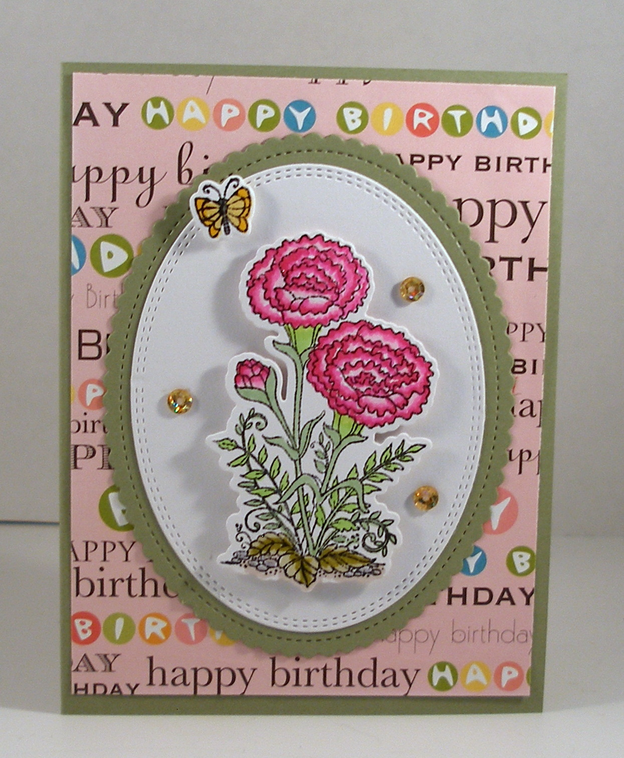 Cottageblog january birthday card there is a set for each month of the year celebrating the flower of the month my card today is for january and the carnation izmirmasajfo