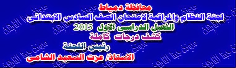نتيجة الشهادة الإبتدائية كاملة بالدرجات محافظة دمياط 2015