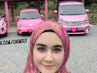 Terobsesi Dengan Warna Pink, Lihat Yang Dilakukan Hijaber Cantik ini Terhadap Mobilnya