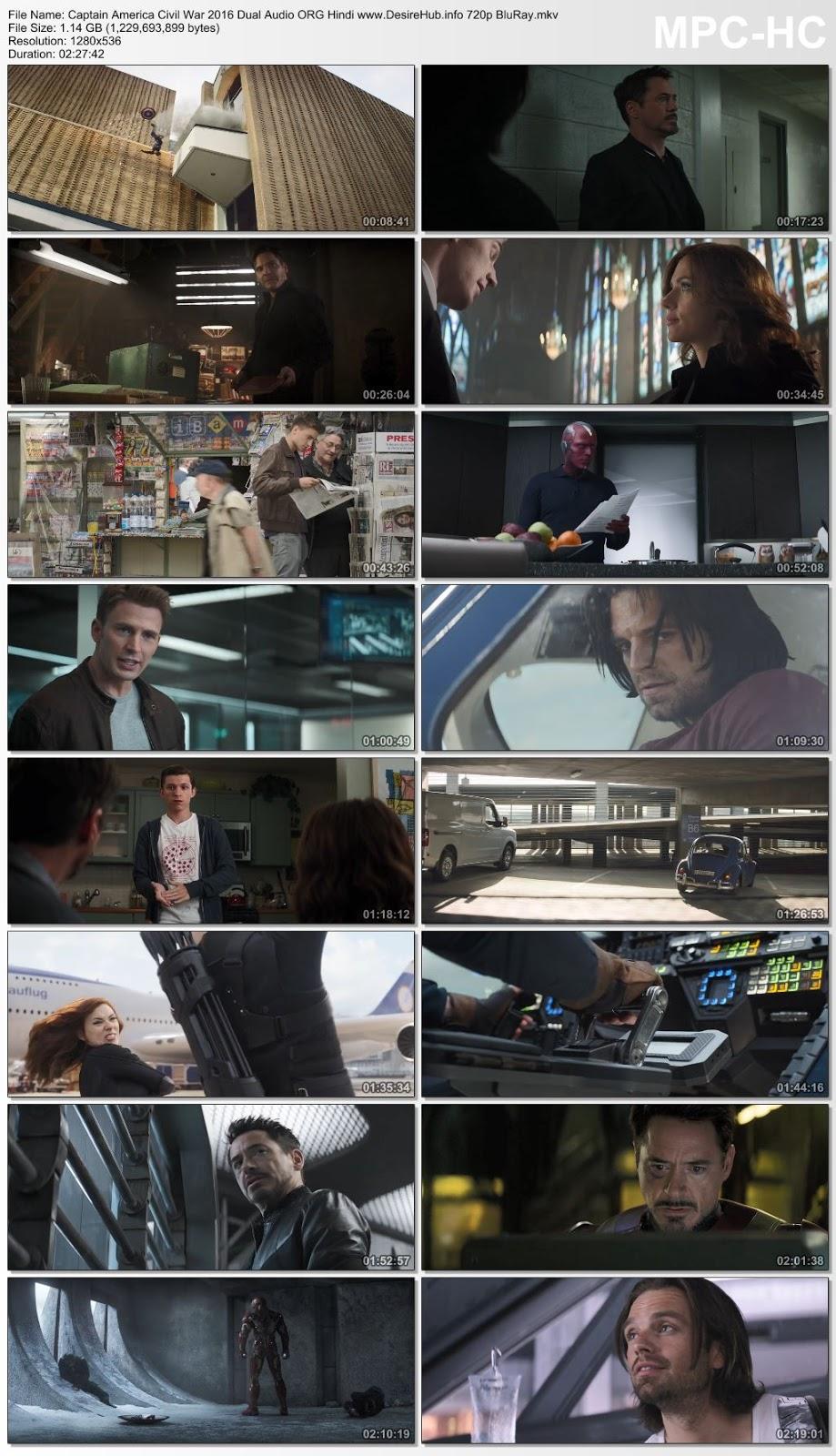Captain America Civil War 2016 Dual Audio ORG Hindi 720p BluRay 1.1GB Desirehub