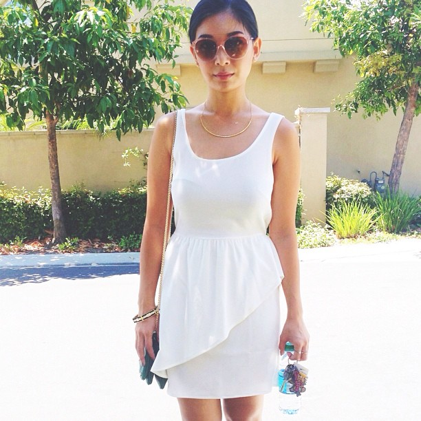 Stephanie Liu of Honey & Silk wearing Everly dress, CC Skye bracelet, and Gorjana & Griffin necklace