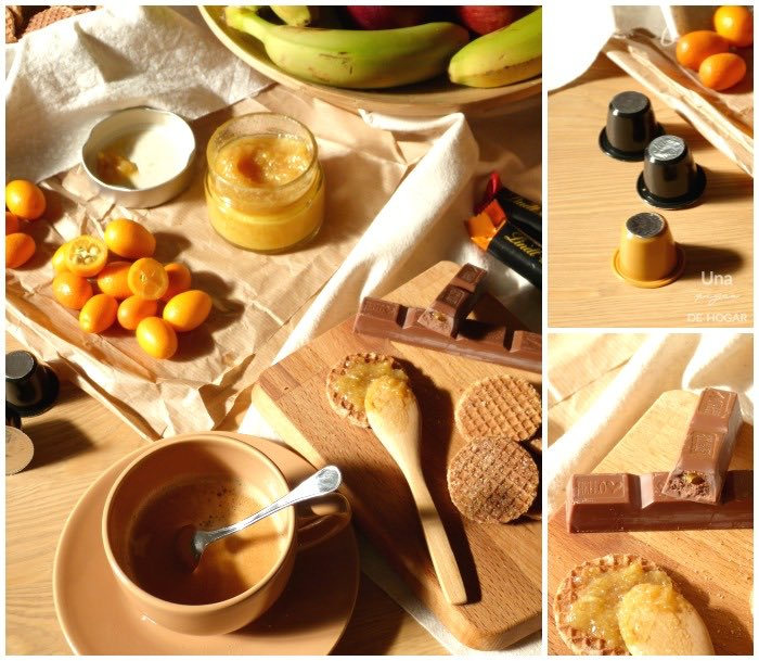 mermelada de kumquat desayuno con fruta, café,