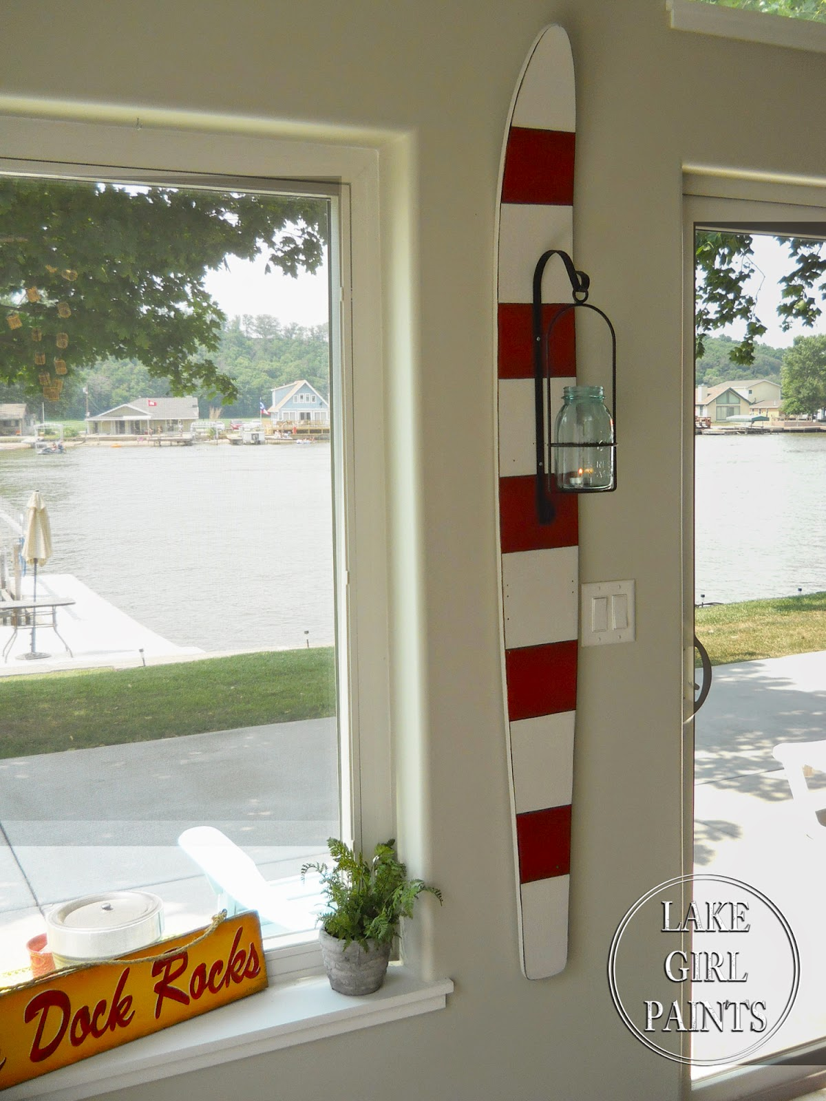 Lake Girl Paints  Red and White Striped Water Ski with Mason Jar Lantern