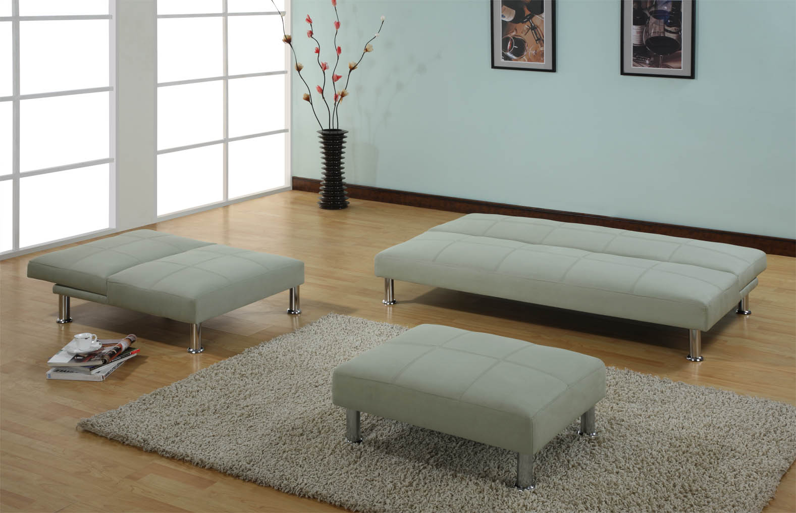 sofa sleeper bed living room set with click clack chair modern leather