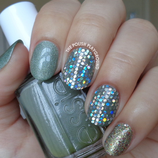 Green with Silver Holographic Glitter Placement Nail Art