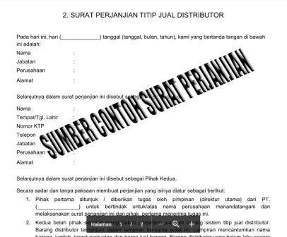 Contoh Surat Perjanjian Titip Jual Distributor Contoh