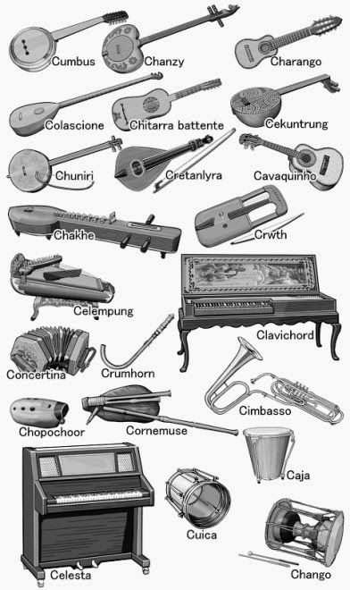 The names of musical instruments. from Caja to Cumbus. Monochrome illustration.