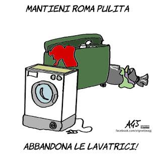frigoriferi, virginia raggi, rifiuti ingombranti, roma, vignetta, satira