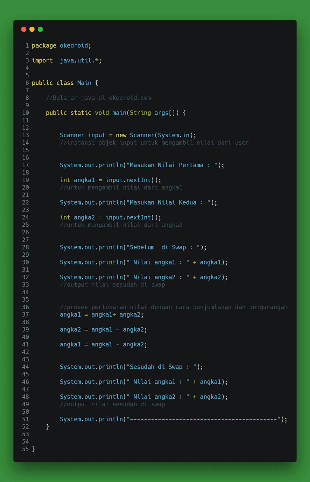 contoh program pertukaran nilai dua 2 buah variabel di java