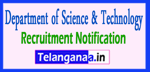 DST Department of Science & Technology Recruitment Notification 2017