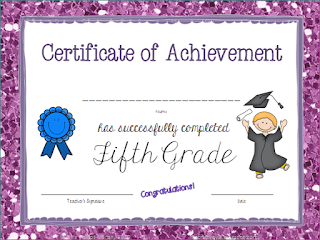 Fifth Grade Certificate