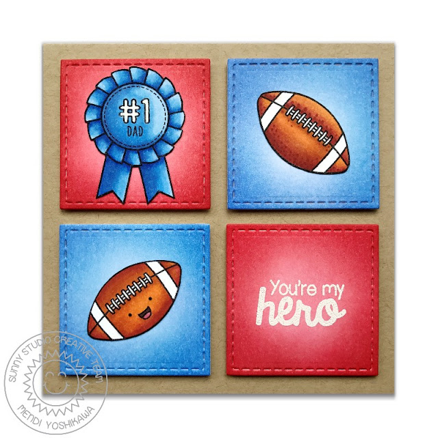 Sunny Studio Stamps: Team Player You're My Hero #1 Dad Football Card by Mendi Yoshikawa