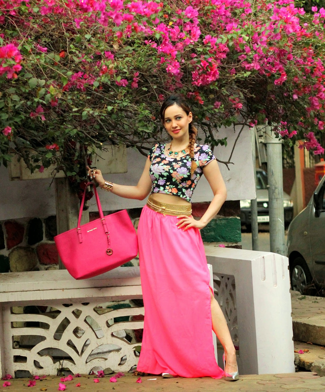 Floral Crop Top & Pink Maxi Skirt