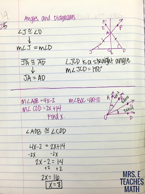 Angles and Diagrams interactive notebook page for high school geometry