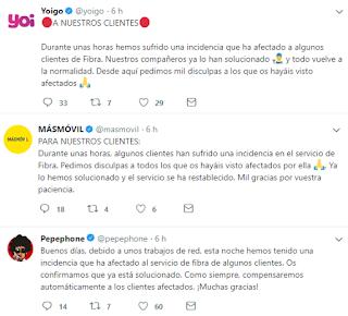 Yoigo, Másmovil y Pepephone comunican incidencia en Twitter