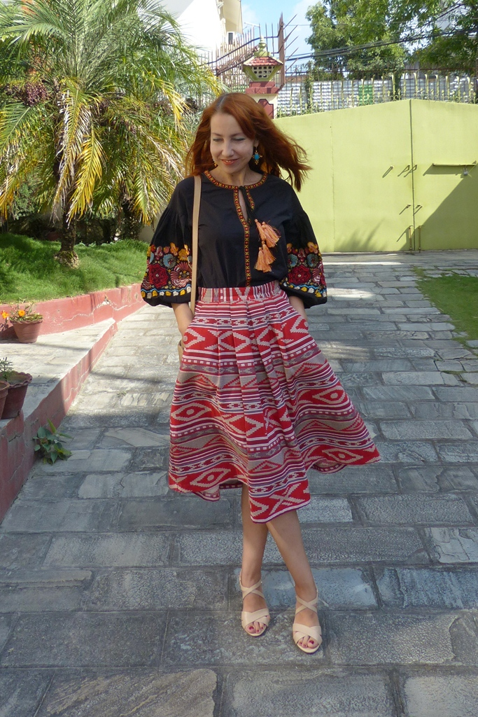 Embroidered blouse and printed skirt
