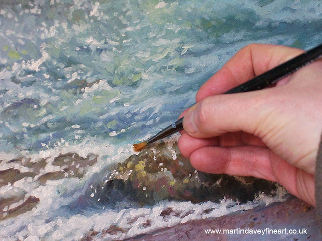WIP waves oil painting M Davey