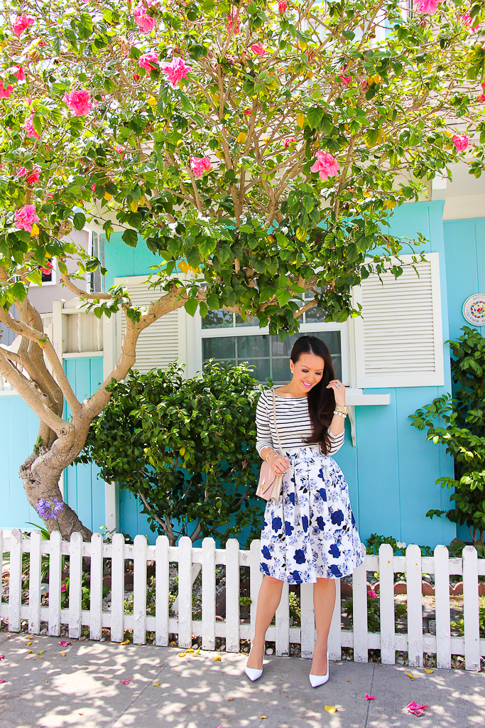 Ann Taylor shoulder button tee Goodnight Macaroon 'Liz' Porcelain Blue Floral Pleated High Waisted A-line Midi Skater Skirt Manolo Blahnik white BB pumps, Pattern Mixing Stripes and floral outfit Summer outfits for petites Tory Burch Kira envelope clutch
