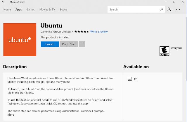 Add Ubuntu Linux Subsystem