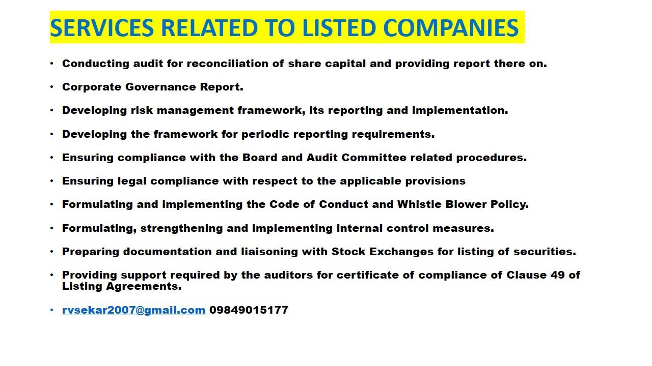 Practicing Company Secretary, R V Seckar, 09848915177 rvsekar2007@gmail.com,